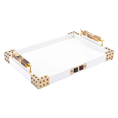 (Zuo Horn & Agate Handle Rectangular Tray, White)