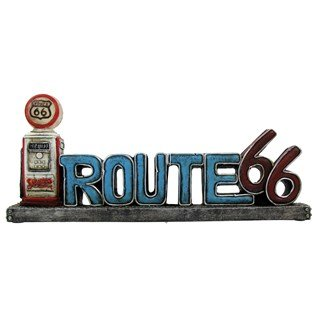 Vintage Style Route 66 Stand Up Sign With LED Gas Pump Light (Gas Signs Pump)