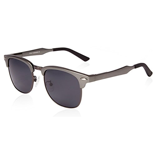 SUNGAIT Classic Half Frame Clubmaster Sunglasses with Polarized Lens (Gunmetal Frame Gray Lens)
