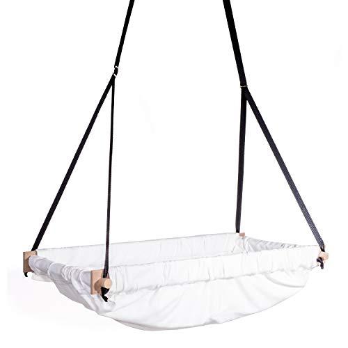 Svava Organic Raw Fabric Nursery Toddler, Baby Hanging Wooden Bassinet Swing Hammock