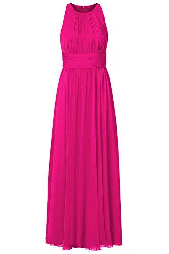 Gefaltetes Kleid Partei Fußboden Damen Brautjungfernkleid der Frauen Irenephil Längen Chiffon Magenta Elegantes Abend 4nxEfwqwUS