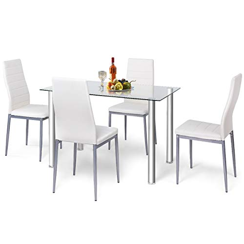 RELAX4LIFE Dining Table Set of 4 with Glass Top and PVC Leather Chairs for Dining Room, Kitchen, Dinette,Restaurant…