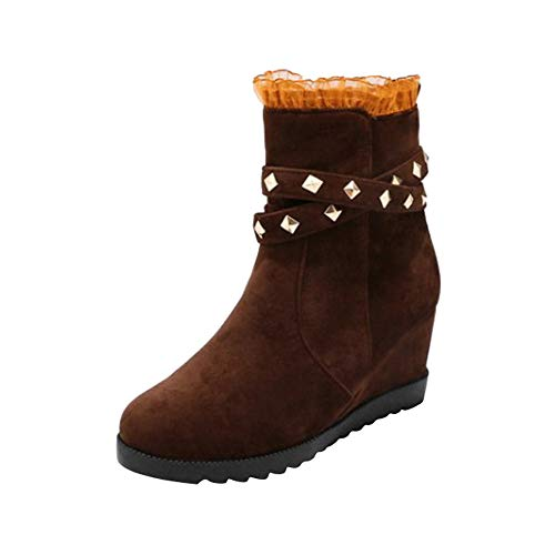 Duseedik Stretch Boots, Classic Thick-Soled Wedge High Heel Boots Increase Female Lace Side Pull Zipper Women' Boot
