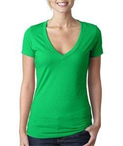 Next Level Womens CVC Deep V Tee 6640 -KELLY GREEN 2XL