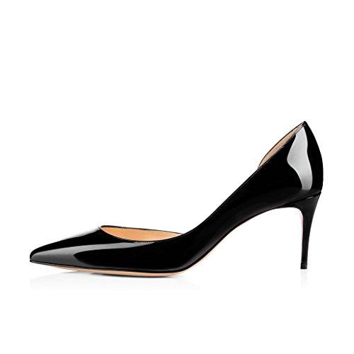 Leather Patent Toe Pumps Slide Size 4 Party Women US Black Shoes Heels 15 Dress Elegant DOrsay FSJ Pointed qw0gXUIxw