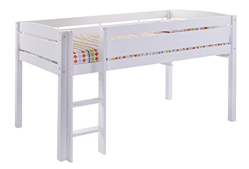 CANWOOD Whistler Junior Loft Bed, White, Twin-Sized Mattress (Not Included), Bunk Bed Alternative, Great for Sleepovers, Underbed Storage/Organization - Low Loft Bunk Bed
