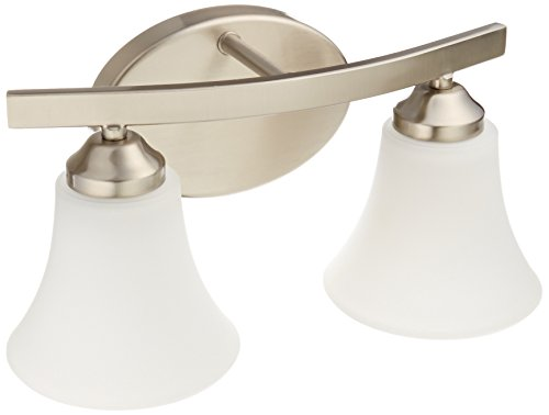 Light Brushed Nickel Bath Fixture (Progress Lighting P2009-09 Adorn Collection 2-Light Vanity Fixture, Brushed Nickel)