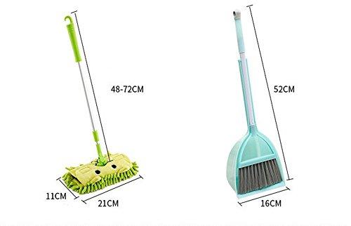 Xifan Mini Housekeeping Cleaning Tools for Children,3pcs Include Mop,Broom,Dustpan Brown Mop+Fresh Orange Broom/&Dustpan