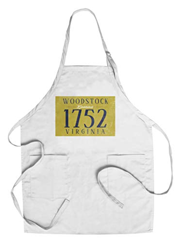 Woodstock, Virginia - Establish Date (Blue on Yellow) (Cotton/Polyester Chef's Apron) (Woodstock Dates)