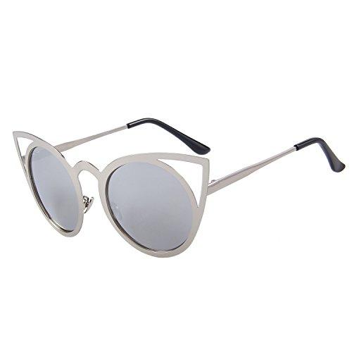 de metal gafas espejo de S8064 flash del sol hueco gato Plateado de de ojo redondo Feliz lente gafas sol 7vX6vw