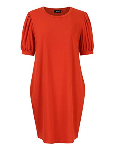 AMZ PLUS Women's Plus Size Puff Sleeve Dress Casual Loose Fit with Side Pockets Red (Puff Sleeve Womens Dress)