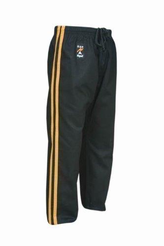 PLAYWELL Pantalon de full-contact et de kick-boxing en coton - noir/rayures jaunes