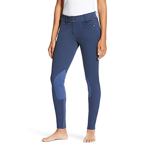 Ariat Breeches (ARIAT Women's Heritage Low Rise Knee Patch Front Zip Knee Patch Breech Indigo Size 30 Long)