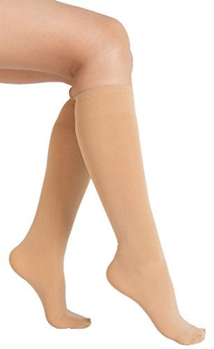 6 Pair Women Opaque Microfiber Stretchy Knee High Trouser Socks-beige2 (Microfiber Opaque Trouser Sock)