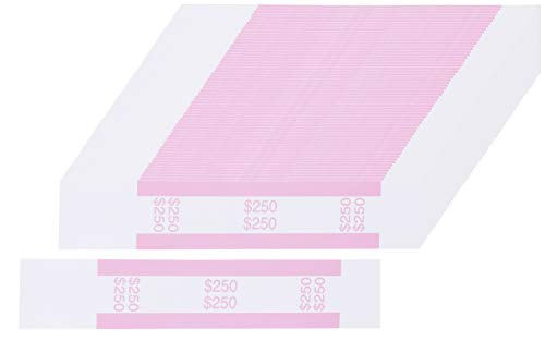 Currency Bands – 300-Count $250 Dollar Bill Wrappers, Money Bands, Currency Straps to Organize Bills, ABA Standard Colors, Self-Adhesive, Pink, 7.55 x 1.25 Inches