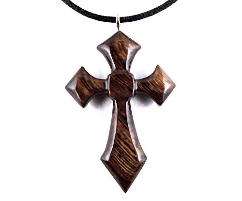 Wooden Cross Pendant Necklace Mens Wood Jewelry Hand Carved in Desert Ironwood ()