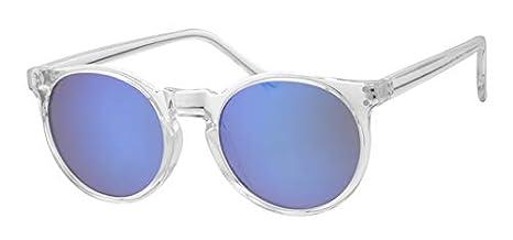 disponible plus grand choix de 2019 complet dans les spécifications Eyewear World Lunettes de Soleil Rondes avec Monture Transparente  Brillante, Verres Bleus, charnières métalliques, Cordon Jaune