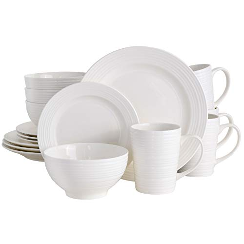 Gibson Home Round Embossed Dinnerware Set, Service for 4 (16pcs), White (Gloss)
