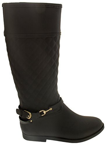 Keddo Mujer Impermeable Botas de Goma de Moda Negro
