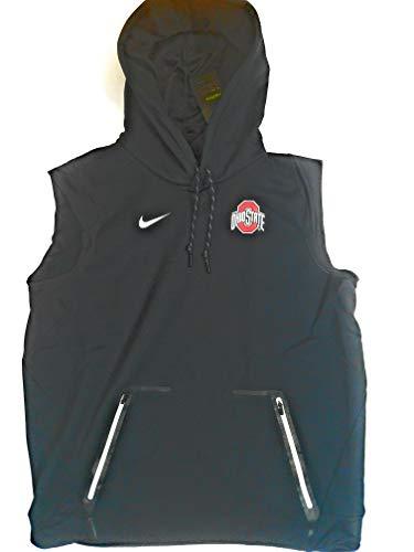 Nike Men's Ohio State Buckeyes Sideline Therma Vest Pullover Hoodie 846009-010 (Large) Black