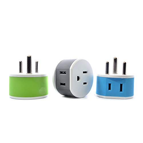 OREI India, Nepal, Maldives Travel Plug Adapter - 2 USA Inputs - 3 Pack - Type D (US-10) - Does Not Convert Voltage