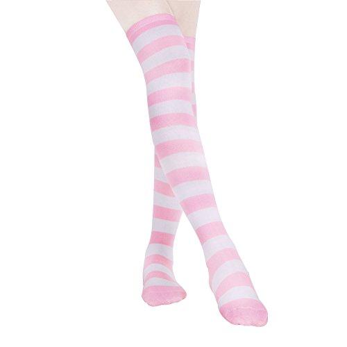 HABI 1 paar gestreepte blauwe roze & wit kniekousen dames over de knie-lange overknee kousen cosplay kostuum