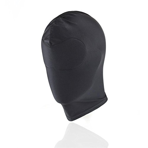 Breathable Hoods Face Cover Black Blindfold Head Mask Spandex Costume Hood Mask for Both Woman and Man (Stitched Blindfold) -