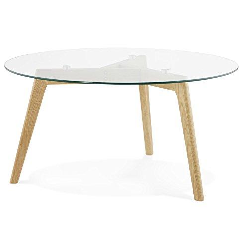 Alterego Table Basse de Salon Ronde GLAZY en Verre