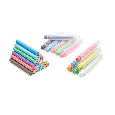 2pack 12 Colorful Dustless Chalk with Chalk Holder, Washable Art Play for Kid, Paint on School Classroom Chalkboard, Kitchen, Office Blackboard, Playground, Outdoor, Gift for Birthday Party (12-2-a): Office Products