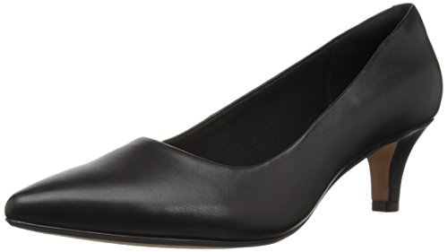 CLARKS Women's Linvale Jerica Pump, Black Leather, 080 M US