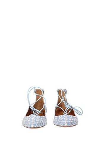 Ballerine Flat Christy EU AQUAZZURA Celeste Tessuto Donna Embroidery CHRFLAR0EMJ vqCt7H4x