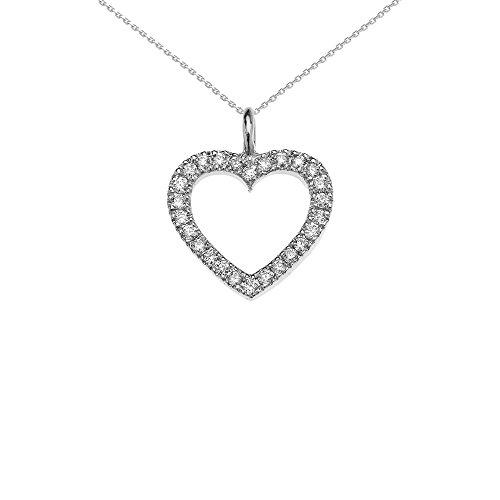 Collier Femme Pendentif 14 Ct Or Blanc Ouvert Cœur Diamant (Livré avec une 45cm Chaîne)