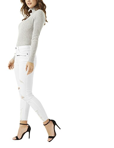 Jean Dtail Skinny Lipsy Zipp Femme Blanc Us ATpw6aWq