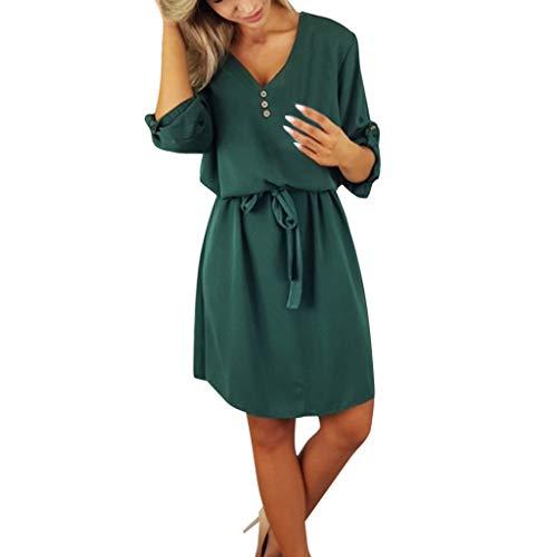 Toimothcn Womens Floral Printed Shirt Dress Short Sleeve Vintage Casual Shift Dresses(Green,XL)