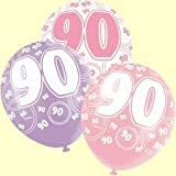 90TH BIRTHDAY BALLOONS X6 PER PACK (NEW UNIQUE pink) by Every-occasion-party-supplies