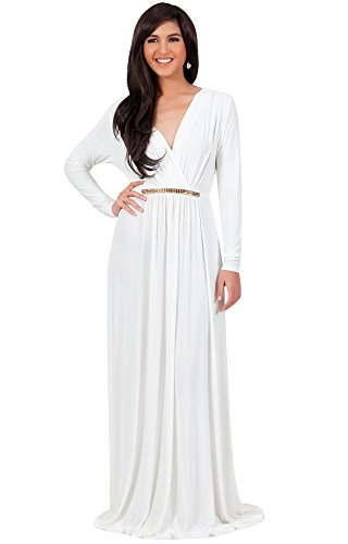 KOH KOH Plus Size Womens Long Sleeve Sleeves Kaftan V-neck Flowy Formal Wedding Guest Fall Winter Evening Day Empire Waist Abaya Muslim Gown Gowns Maxi Dress Dresses, Ivory White XL 14-16 (2)