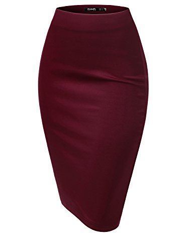 TWINTH Women Stretch Knit Midi Bodycon Pencil Skirt for Work Party WINE L (Stretch Tan Skirt)