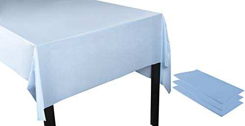 Juvale Light Blue Plastic Tablecloth - 3-Pack 54 x 108-Inch Rectangle Disposable Table Cover, Fits up to 8-Foot Long Tables, Party Decoration Supplies, 4.5 x 9 Feet