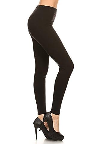 Leggings Depot Women's Popular Basic Solid Cotton Full Length Leggings (Large, Black)
