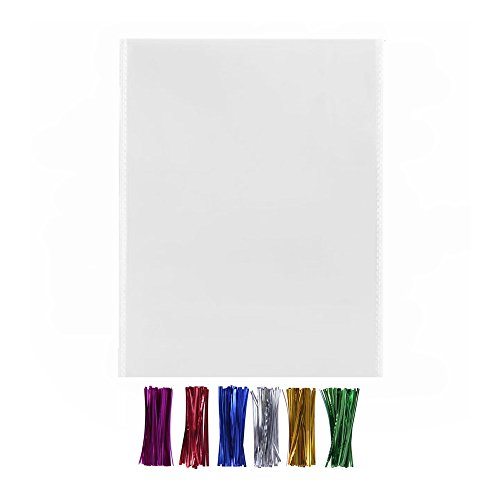 200 10x13 Clear Gift Favor Bags with Twist Ties - 1.4 mils Thickness OPP Plastic Bags (10'' x 13'')