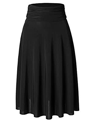 3LCollection Womens Lightweight Flared Midi Skater Skirt with Stretch (Made in USA)