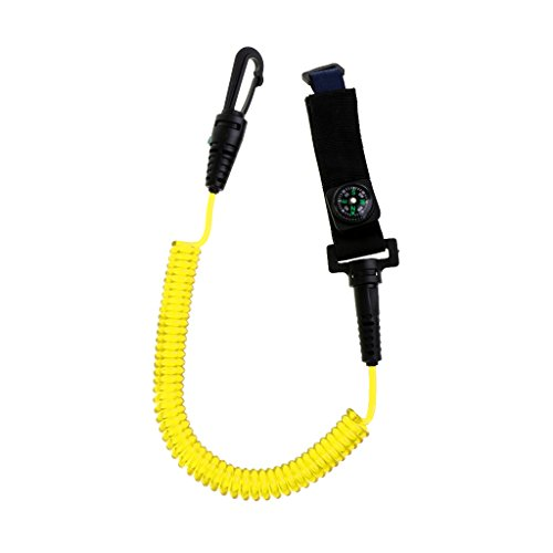 Dovewill Durable Nylon Kayak Canoe Paddle Leash Cord Clip Fishing Rod Safety Lanyard with Compass - Yellow, - Compass Sea Kayak