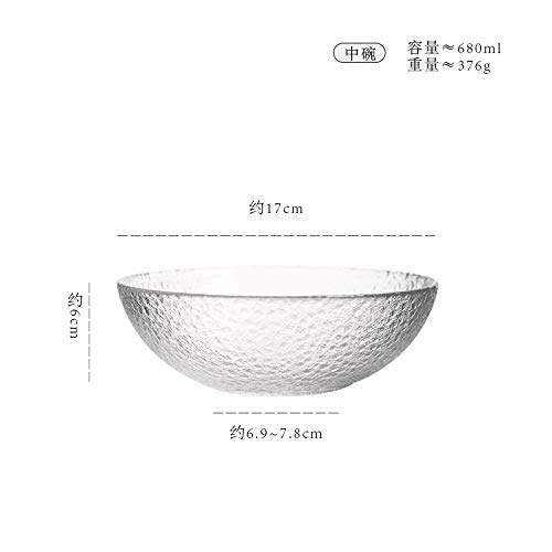 (Japanese Style Stone Glass Bowl Simple Small Eating Bowl Breakfast Bowl Creative Household Fruit Salad Mixing Bowl Rice Bowl , Bowl -680ML Lightweight yet durable)
