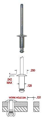 40/unidades remaches ciegos de cabeza plana,/DIN 7337/Forma A acero inoxidable A2