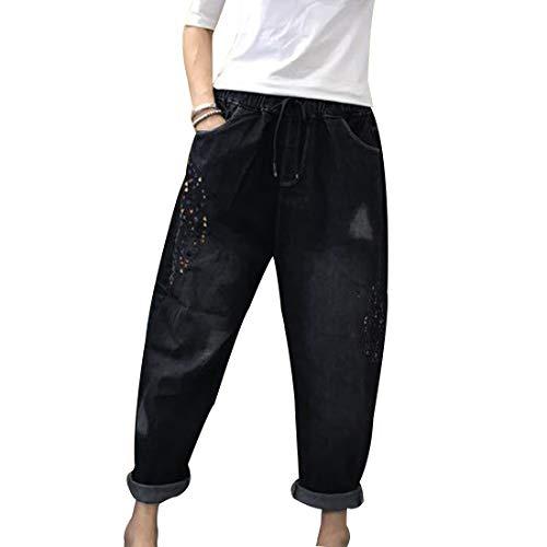 盆地形式必要ない(ボラ-キキ) Bole-kk サルエルパンツ デニム ボーイフレンド レディース ジーンズ パンツ デニム ゆったり 大きいサイズ ボトムス 刺繍
