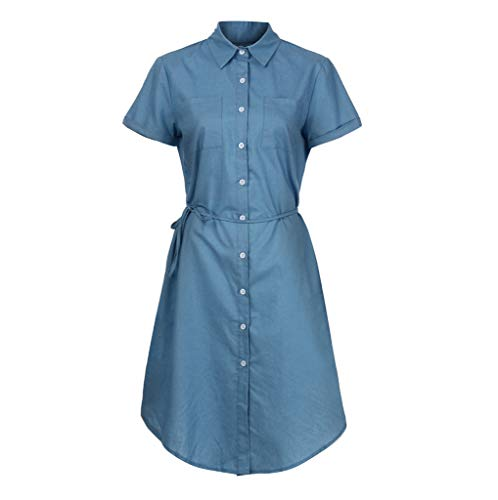 iLUGU Womens Short Sleeve Solid Button Casual Round Neck Tie Knot Front Pencil Dress