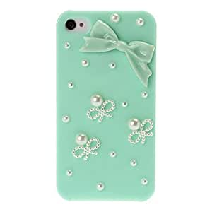 3D Bow Pattern Diamond Plastic Case for iPhone 4/4S --- COLOR:Pink