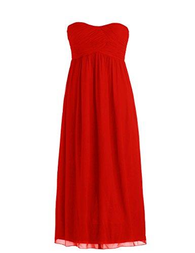 Dressystar Robe de demoiselle d'honneur/de soirée Simple, en Mousseline Taille 40 Rouge