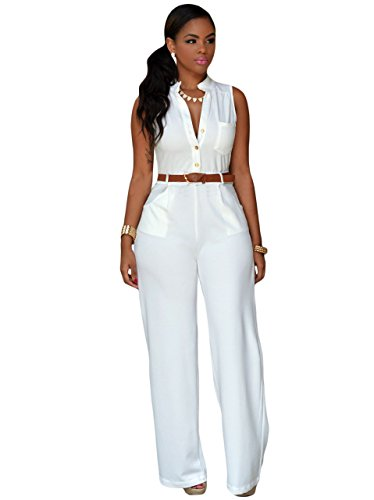 Damen Weiß Gürtel Ärmellos breit Bein Overall Catsuit Clubwear Kleidung Größe M UK 10–12EU 38–40