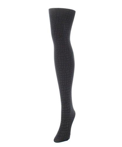 MeMoi Snakeskin Fleece Tights Black MF4 127 Small/Medium